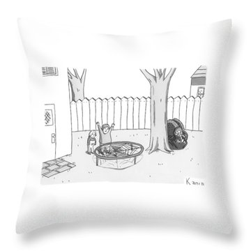 Two Children Excitedly Look At A Web Disguised Throw Pillow