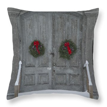 Two Christmas Wreaths Throw Pillow by Alana Ranney