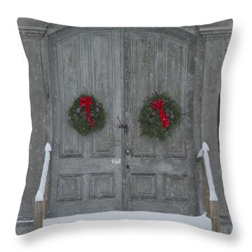 Two Christmas Wreaths Throw Pillow