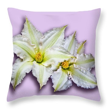 Two Clematis Flowers On Pale Purple Throw Pillow by Jane McIlroy