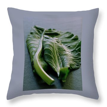 Two Collard Leaves Throw Pillow