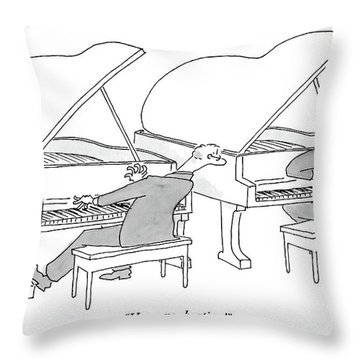 Two Concert Pianists Play Side-by-side Throw Pillow