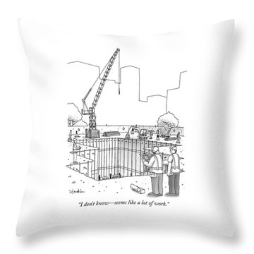 Two Construction Workers Look Out Over A Massive Throw Pillow