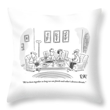 Two Couples Are Sitting Around A Coffee Table Throw Pillow