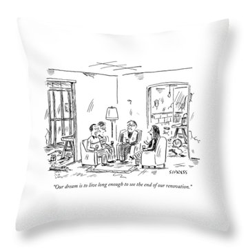 Two Couples Sitting In The Middle Of A House Throw Pillow
