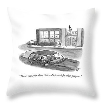 Two Criminals In Suits Sit In A Car Throw Pillow