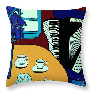 Two Cups One Accordian Throw Pillow