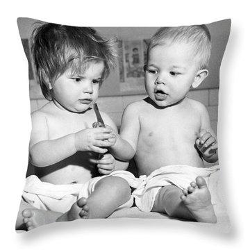 Two Cute Children Sharing Throw Pillow