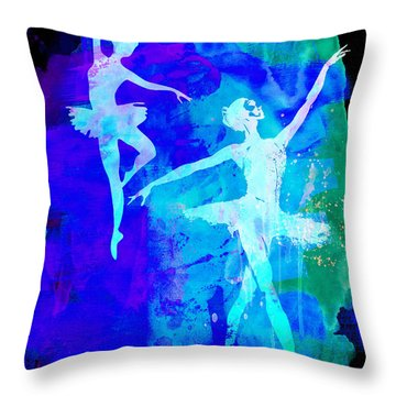 Two Dancing Ballerinas  Throw Pillow by Naxart Studio