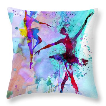 Two Dancing Ballerinas Watercolor 2 Throw Pillow