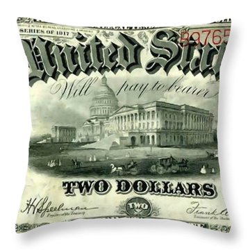 Two Dollar 1917 United States Note Fr60 Throw Pillow by Lanjee Chee