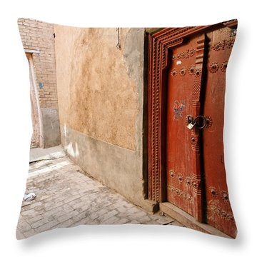 Two Doors In The Old Town Of Kashgar Throw Pillow by Robert Preston