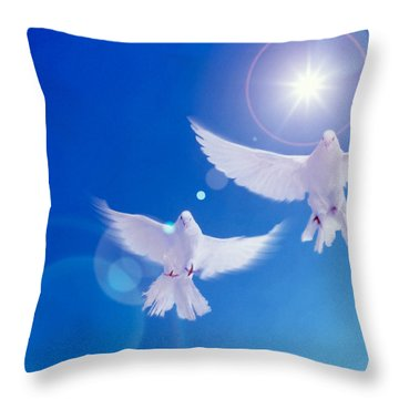 Two Doves Side By Side With Wings Throw Pillow by Panoramic Images