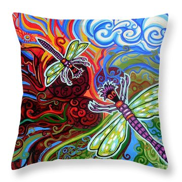 Two Dragonflies Throw Pillow by Genevieve Esson
