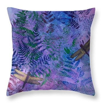 Two Dragons In The Woods Throw Pillow