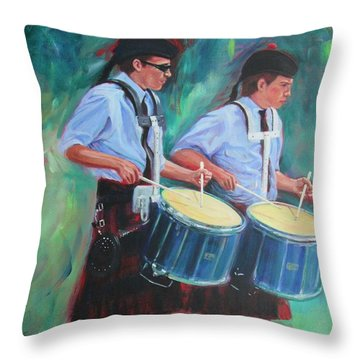 Two Drummers Throw Pillow