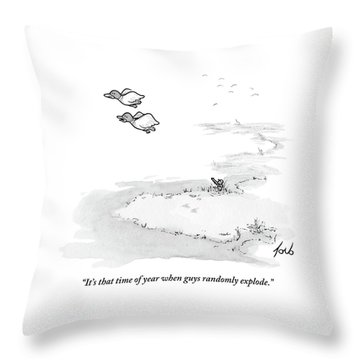 Two Ducks Fly Over A Pond. A Hunter Hides Throw Pillow