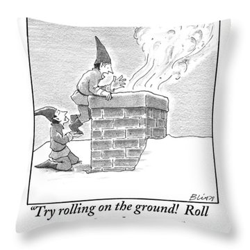 Two Elves On A Snow-covered Roof Yell Throw Pillow