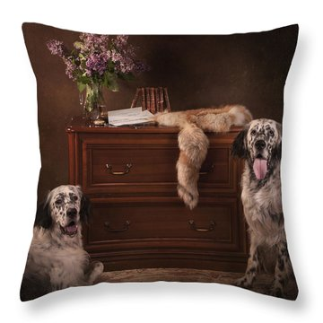 Two English Setters... Throw Pillow