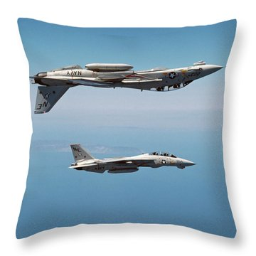 Two F-14a Tomcats Perform Aerobatics Throw Pillow