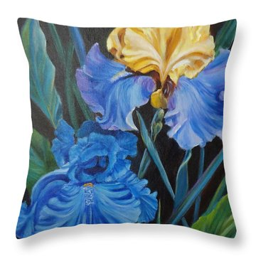 Throw Pillow featuring the painting Two Fancy Iris by Jenny Lee