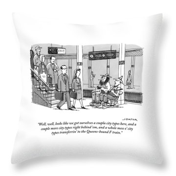 Two Farmers Sit In Rocking Chairs At The 42nd Throw Pillow
