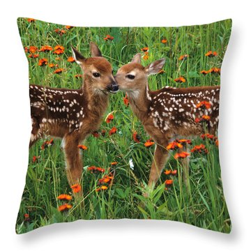 Two Fawns Talking Throw Pillow