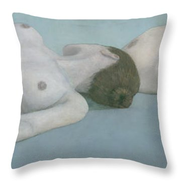 Two Figures Lying Throw Pillow