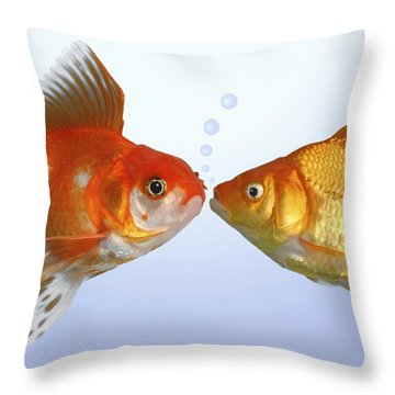 Two Fish Kissing Fs502 Throw Pillow by Greg Cuddiford