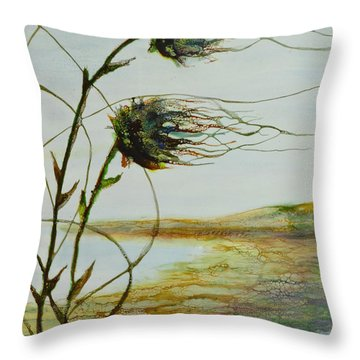 Two Flowers By The Bay Throw Pillow