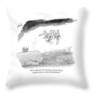 Two Formally Dressed Bugs Fly Away From A Another Throw Pillow