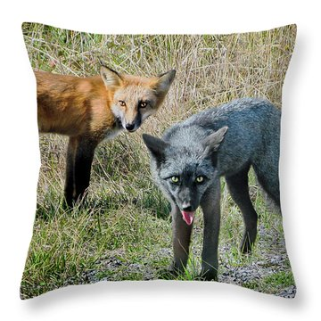 Two Fox Seattle Throw Pillow by Jennie Breeze