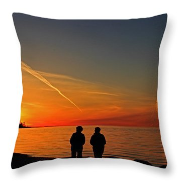 Two Friends Enjoying A Sunset Throw Pillow