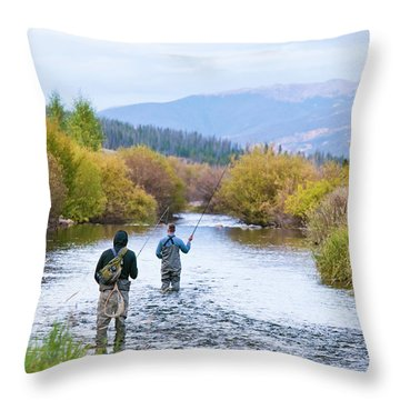 Colorado Fly Fishing River Throw Pillows