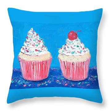 Two Frosted Cupcakes Throw Pillow