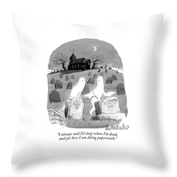 Two Ghosts Talk In A Graveyard.  One Is Holding Throw Pillow