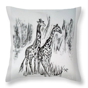 Throw Pillow featuring the drawing Two Giraffe's In Graphite by Janice Rae Pariza