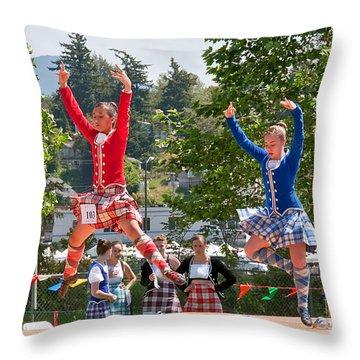 Two Girls Scottish Dancing Art Prints Throw Pillow