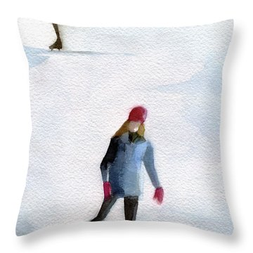 Two Girls Ice Skating Watercolor Painting Throw Pillow
