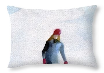 Two Girls Ice Skating Watercolor Painting Throw Pillow by Beverly Brown