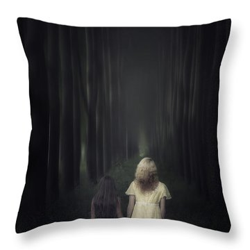 Two Girls In A Forest Throw Pillow by Joana Kruse
