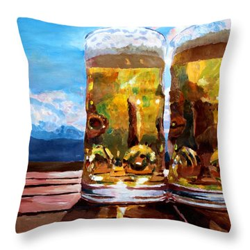 Two Glasses Of Beer With Mountains Throw Pillow by M Bleichner