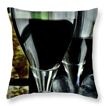 Two Glasses With Red Wine Throw Pillow