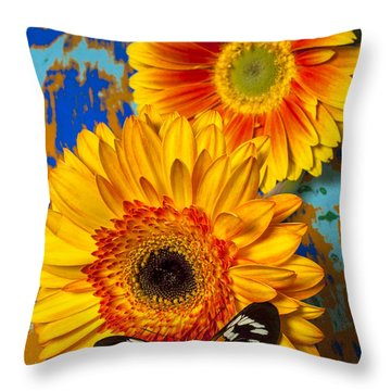 Two Golden Mums With Butterfly Throw Pillow by Garry Gay