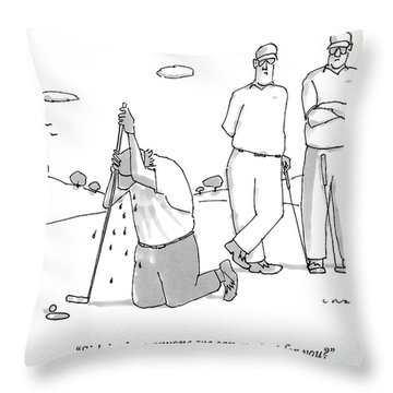 Two Golfers Speak To A Man Throw Pillow