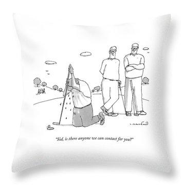 Two Golfers Speak To A Man Throw Pillow