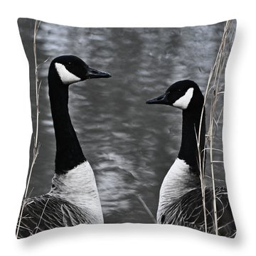Two Goose Tango Throw Pillow