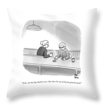 Two Grannies Smoke And Drink At A Bar Throw Pillow