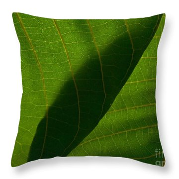 Two Green Leaves Overlapping Throw Pillow by Tim Good