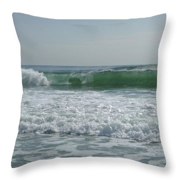 Two Green Waves Throw Pillow